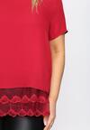 Czerwona Bluzka Lace Ruffle