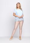Niebieska Bluzka Lace Ruffle