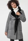 Szaro-Czarny Płaszcz Regularly