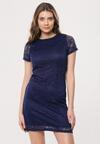 Granatowa Sukienka Loose Fitting