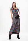 Szaro-Granatowa Sukienka Behang