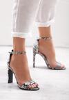 Czarne Wężowe Sandały Ridiculous