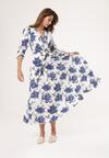 Biało-Niebieska Sukienka Joyous
