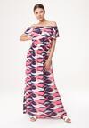 Granatowo-Różowa Sukienka Fleeting Flower