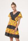 Czarno-Żółta Sukienka Counted On