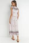 Biało-Różowa Sukienka Fall In