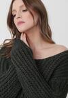 Ciemnozielony Sweter Over It