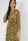 Żółto-Czarna Sukienka Ashted