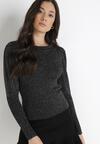 Czarno-Srebrny Sweter Warrane