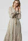 Biało-Żółta Sukienka Kourtney