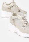 Beżowe Sneakersy na Ukrytym Koturnie Bretiax