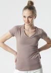 Ciemnobeżowy T-shirt Aegameda
