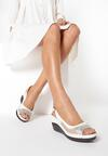 Beżowo-Białe Sandały Clalina