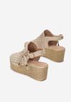 Beżowe Ażurowe Sandały Auralora
