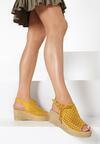 Żółte Ażurowe Sandały Auralora