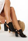 Czarne Ażurowe Sandały Delomeda