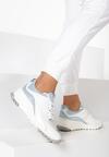 Biało-Niebieskie Skórzane Sneakersy Metiomine