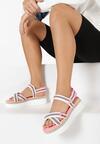 Biało-Różowe Sandały Naulin