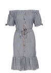 Biało-Granatowa Sukienka Assana