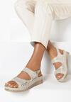 Beżowo-Złote Sandały Amasura