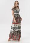 Czerwono-Beżowa Sukienka Gineneva