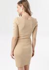 Jasnobeżowa Sukienka Leucolodia