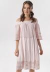 Jasnoróżowa Sukienka Aerelura