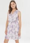 Fioletowo-Biało Sukienka Malilenia