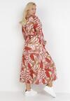 Beżowo-Czerwona Sukienka Qinynore
