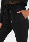 Czarne Spodnie Dresowe Rhelira