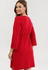 Czerwona Sukienka Dzianinowa Mezlith