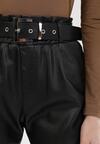 Czarne Spodnie Paper Bag Haranin