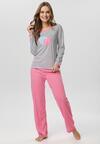 Różowo-Szary Komplet Piżamowy Yamare