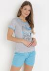 Szaro-Niebieski Komplet Piżamowy Celanara