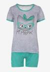 Szaro-Zielony Komplet Piżamowy Celanara