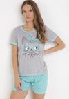 Szaro-Miętowy Komplet Piżamowy Celanara