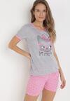 Szaro-Różowy Komplet Piżamowy Celanara
