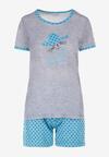 Szaro-Niebieski Komplet Piżamowy Phiodeia