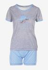 Niebiesko-Szary Komplet Piżamowy Phiodeia
