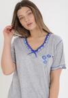 Szaro-Niebieski Komplet Piżamowy Genirissa