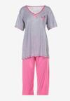 Szaro-Różowy Komplet Piżamowy Genirissa