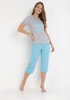 Niebiesko-Szary Komplet Piżamowy Sabritea