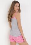 Różowo-Szary Komplet Piżamowy Palamine