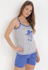 Szaro-Niebieski Komplet Piżamowy Palamine
