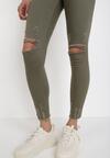 Ciemnozielone Spodnie Skinny Lyrei