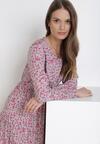 Biało-Różowa Sukienka Laomia