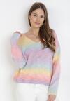 Pastelowy Sweter Z Wełną Pasimei