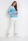 Niebiesko-Miętowy Sweter Z Wełną Pasimei