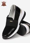 Czarno-Złote Skórzane Sneakersy Iecabra