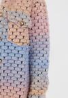 Niebiesko-Różowy Płaszcz Z Wełną Acalisia